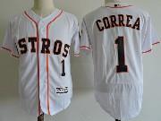 Mens Majestic Houston Astros #1 Carlos Correa White Flex Base Jersey