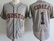 Mens Majestic Houston Astros #1 Carlos Correa Gray Flex Base Jersey
