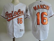 Mens Majestic Baltimore Orioles #16 Trey Mancini White Flex Base Jersey