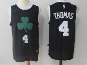 Mens Nba Boston Celtics #4 Isaiah Thomas Black Flower Logo Nike Jersey