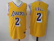 Mens Nba Nike Los Angeles Lakers #2 Lonzo Ball Gold Star Home Jersey