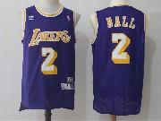 Mens Nba Los Angeles Lakers #2 Lonzo Ball Pruple Hardwood Classics Jersey