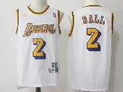Mens Nba Adidas Los Angeles Lakers #2 Lonzo Ball White Hardwood Classics Jersey