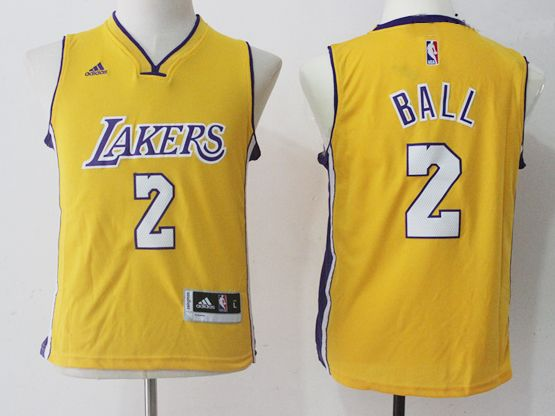 Youth Nba Los Angeles Lakers #2 Lonzo Ball Gold Home Jersey