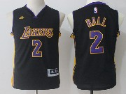 Youth Nba Los Angeles Lakers #2 Lonzo Ball Black Jersey