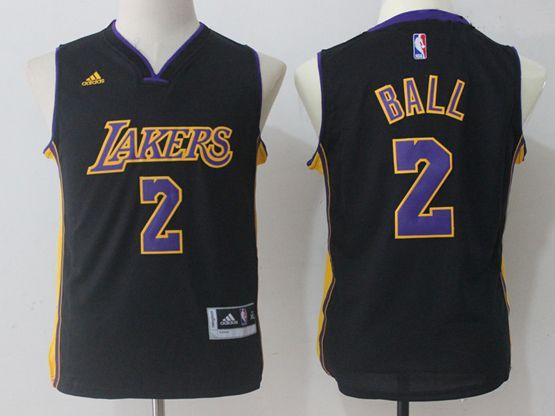 Youth Nba Los Angeles Lakers #2 Lonzo Ball Black Jersey