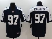 Mens Dallas Cowboys #97 Taco Charlton Blue Thanksgiving Vapor Untouchable Limited Jersey