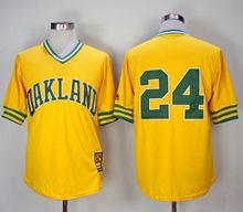Mens Mlb Oakland Athletics #24 Rickey Henderson Yellow Mitchell&ness Pullover Mesh 1981 Throwbacks Jersey