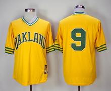 Mens Mlb Oakland Athletics #9 Reggie Jackson Yellow Mitchell&ness Pullover Mesh 1981 Throwbacks Jersey