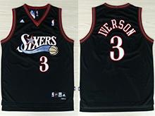 Mens Nba Philadelphia 76ers #3 Allen Iverson Adidas Black Swingman Mesh Jersey