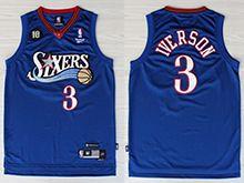 Mens Nba Philadelphia 76ers #3 Allen Iverson Adidas Blue Swingman Mesh Jersey