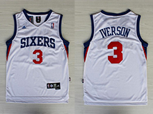 Mens Nba Philadelphia 76ers #3 Allen Iverson White Sixers Mesh Jersey