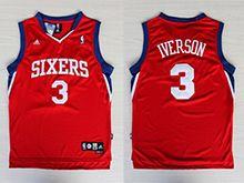 Mens Nba Philadelphia 76ers #3 Allen Iverson Red Sixers Mesh Jersey