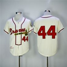 Mens Mlb Atlanta Braves #44 Hank Aaron Cream Zipper 1957 Throwbacks
