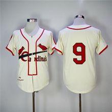 Mens Mlb St. Louis Cardinals #9 Enos Slaughter Cream Zipper 1946 Throwbacks Jersey