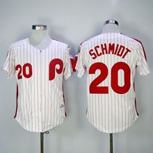 Mens Mlb Philadelphia Phillies #20 Schmidt White(red Strip) 1983 Throwbacks Zipper Jersey