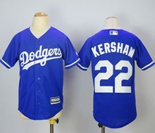Youth Majestic Mlb Los Angeles Dodgers #22 Clayton Kershaw Blue Jersey