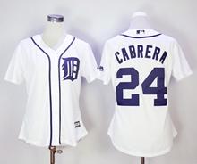 Women Mlb Detroit Tigers #24 Miguel Cabrera White Jersey
