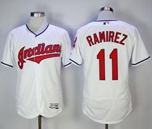 Mens Majestic Cleveland Indians #11 Jose Ramirez White Flex Base Jersey