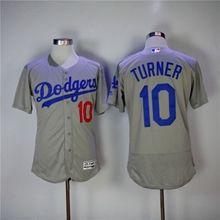 Mens Majestic Los Angeles Dodgers #10 Justin Turner Gray Flex Base Jersey