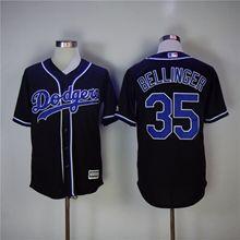 Mens Majestic Los Angeles Dodgers #35 Cody Bellinger Black Cool Base Jersey