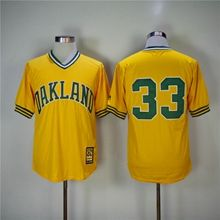 Mens Mlb Oakland Athletics #33 Jose Canseco Yellow Pullover Throwbacks Jersey