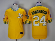 Mens Mlb Oakland Athletics #24 Ricky Henderson Yellow Pullover Throwbacks Jersey