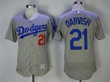 Mens Majestic Los Angeles Dodgers #21 Yu Darvish Gray Flex Base Jersey
