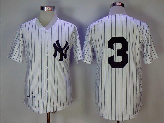 Mens Mlb New York Yankees #3 Babe Ruth White Throwbacks Jersey