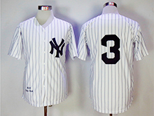 Mens Mlb New York Yankees #3 Babe Ruth White Throwbacks Jersey
