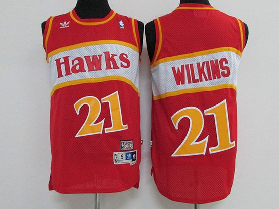 Mens Nba Atlanta Hawks #21 Wilkins Red Hardwood Throwback Jersesy