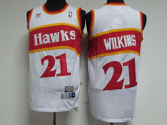 Mens Nba Atlanta Hawks #21 Wilkins White Hardwood Throwback Jersesy