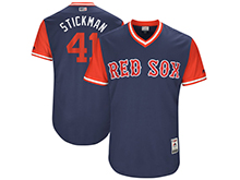 Mens Mlb Boston Red Sox #41 Chris Sale ( Stickman) Majestic Navy 2017 Players Weekend Authentic Jersey