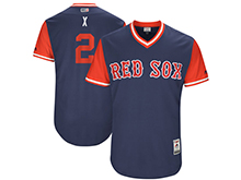 Mens Mlb Boston Red Sox #2 Xander Bogaerts ( X) Majestic Navy 2017 Players Weekend Authentic Jersey