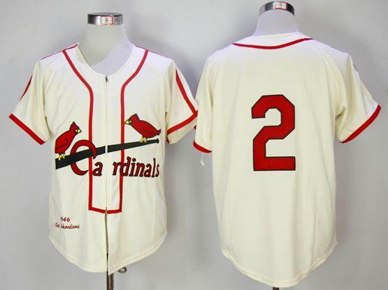 Mens Mlb St. Louis Cardinals #2 Red Schoendienst Cream Zipper 1946 Throwbacks Jersey