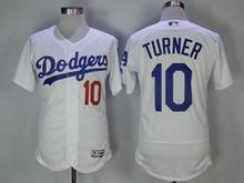 Mens Majestic Los Angeles Dodgers #10 Justin Turner White Flex Base Jersey