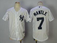 Youth Majestic Mlb New York Yankees #7 Mickey Mantle White Stripe Jersey