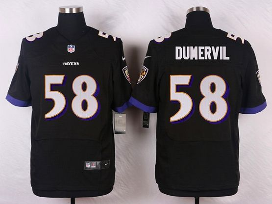 Mens Nfl Baltimore Ravens #58 Elvis Dumervil Black Elite Jersey