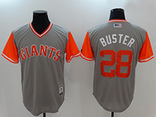Mens San Francisco Giants #28 Buster Posey ( Buster) Majestic Gray 2017 Players Weekend Authentic Jersey