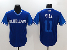 Mens Mlb Toronto Blue Jays #11 Kevin Pillar ( Pill) Majestic Royal 2017 Players Weekend Authentic Jersey