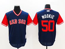 Mens Mlb Boston Red Sox #50 Mookie Betts ( Mookie) Majestic Navy 2017 Players Weekend Authentic Jersey