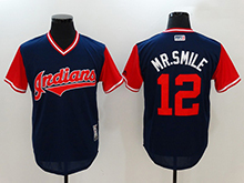 Mens Mlb Cleveland Indians #12 Francisco Lindor ( Mr. Smile) Majestic Navy 2017 Players Weekend Authentic Jersey