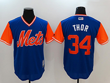Mens Mlb New York Mets #34 Noah Syndergaard ( Thor) Majestic Royal 2017 Players Weekend Authentic Jersey
