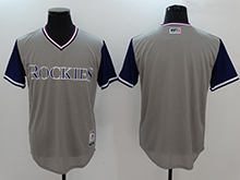 Mens Mlb Colorado Rockies ( Blank) Majestic Gray 2017 Players Weekend Authentic Jersey