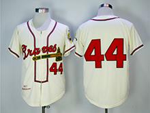 Mens Mlb Atlanta Braves #44 Hank Aaron Cream Zipper 1957 Throwbacks