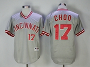 Mens Mlb Majestic Cincinnati Reds #17 Choo Gray (red Number) Pullover Cool Base Jersey