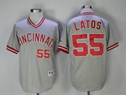 Mens Mlb Majestic Cincinnati Reds #55 Latos Gray (red Number) Pullover Cool Base Jersey