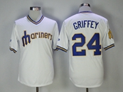 Mens Mlb Seattle Mariners #24 Ken Griffey Jr White Pullover Cool Base Jersey