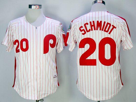 Mens Mlb Philadelphia Phillies #20 Schmidt White(red Strip) 1983 Throwbacks Zipper Jersey