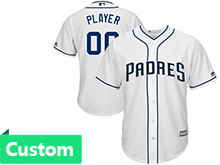 Mens Majestic Mlb San Diego Padres (custom Made) White Home Cool Base Jersey